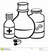 Medicine Coloring Bottles Pills Bottle Sketch Pill Medizinflaschen Medicina Bottiglie Flessen Geneeskunde Template Della Capsule Stockbilder Printable Bild sketch template