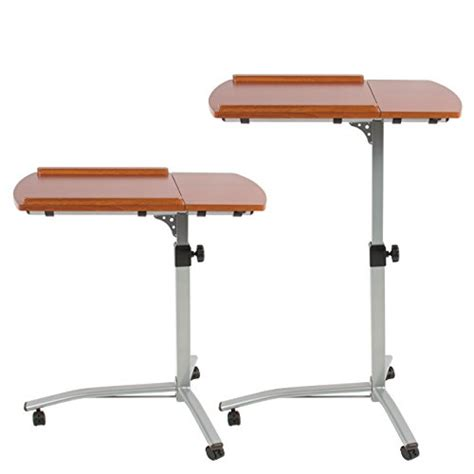 rolling laptop desk table best choice products angle height adjustable rolling