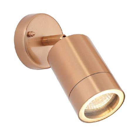 cowl single outdoor wall spotlight  copper finish