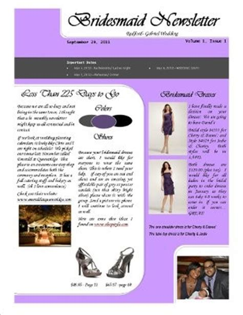 bridesmaid newsletter template bridesmaid newsletter lets see it weddings etiquette and advice stuff planning