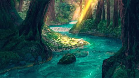 fantasy forest  magic river animated wallpaper