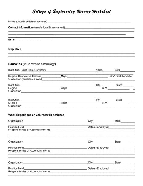 my resume worksheet 28 images fascinating resume