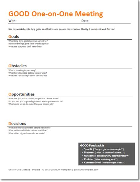 1 on 1 meeting template template how managers can increase engagement with one on one meetings
