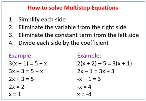 solving multi step equations solutions exles