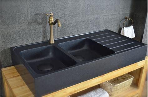 evier cuisine noir 120x60 évier granit noir de cuisine en 2 cuves