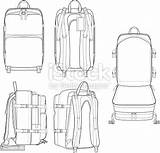 Flat Backpack Sketches Drawing Technical sketch template