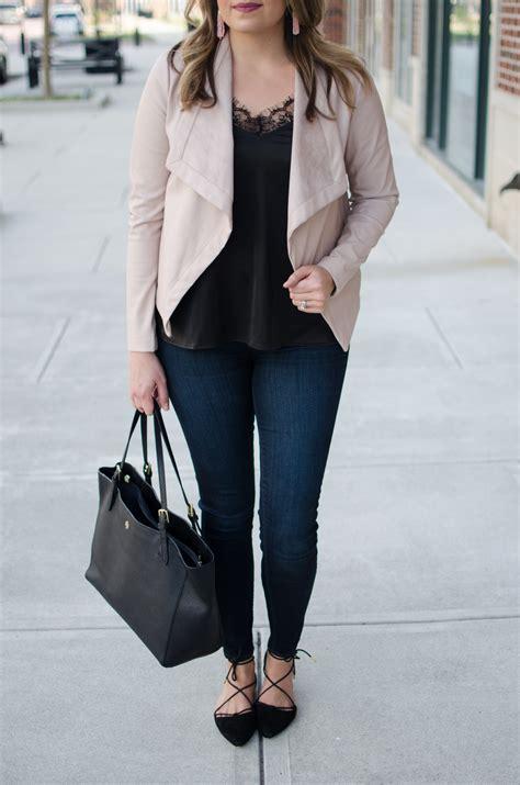 Lace Camisole + Blush Leather Jacket | By Lauren M