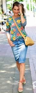25 grown up ways to wear a denim skirt - stylishwomenoutfits.com