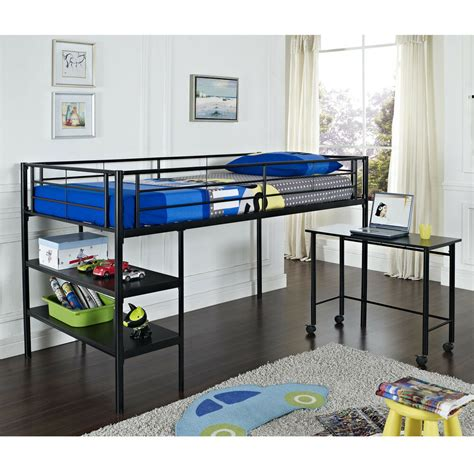 Metal Bunk Bed With Desk by Metal Loft Bed In Black Or White Finish W Shelves