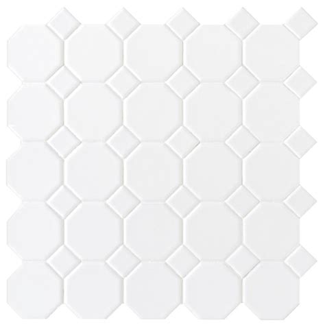 daltile matte white 12 in x 12 in x 6 mm ceramic octagon