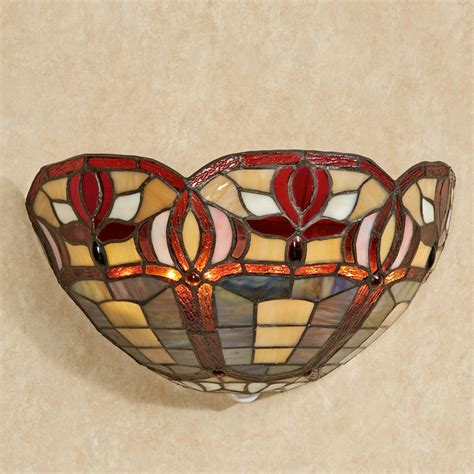roses stained glass led wall sconce