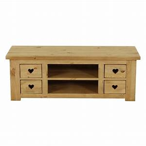 Meuble Tv Rustique : meuble tv rustique en pin avec coeur 4 tiroirs 2 niches grenier alpin ~ Teatrodelosmanantiales.com Idées de Décoration