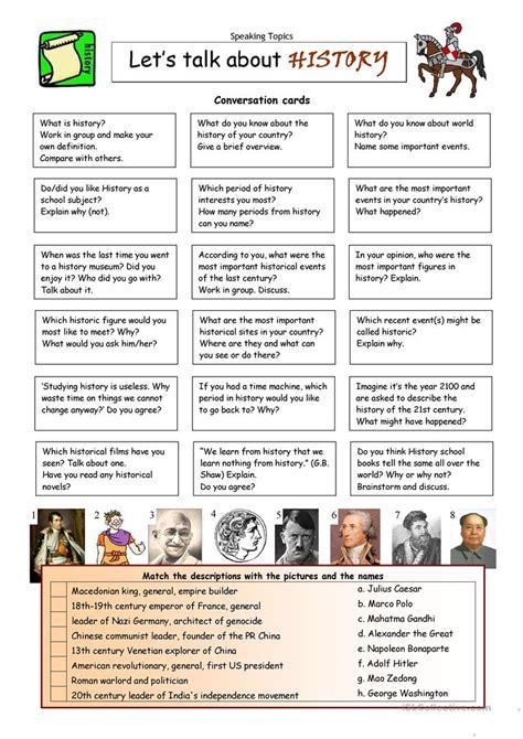lets talk  history english esl worksheets
