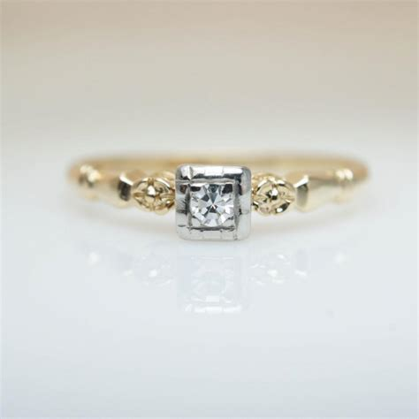 mid century 1940s diamond promise ring engagement ring