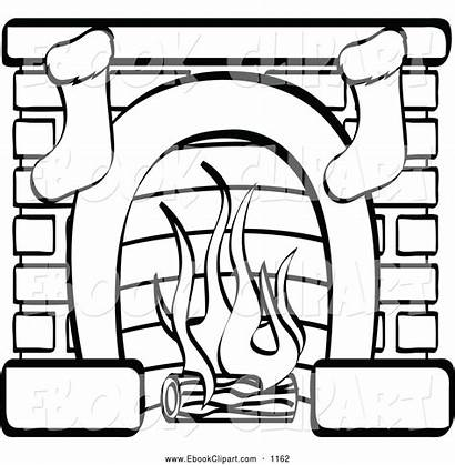 Fireplace Chimney Clipart Drawing Clip Stockings Coloring
