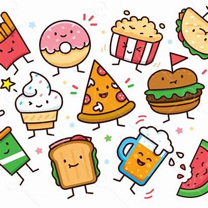 Doodle Clipart Characters Pizza Burger Ice Donut