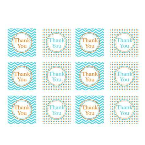 thank you tag template orange blue printable thank you tags