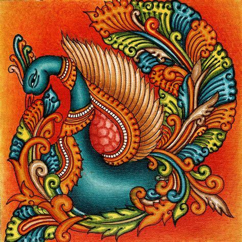 Kerala Mural Swan Painting Handmade South India Nature