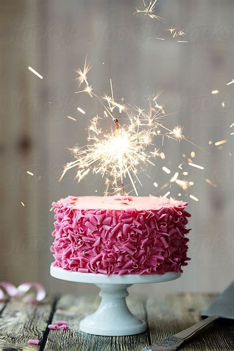 pink celebration cake  sparkler  ruth black