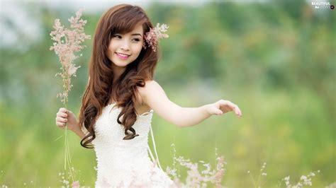 grass japanese girl meadow beautiful views wallpapers