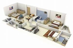 Rectangular, Shape, 3, Bedroom, House, Plan, In, 3d