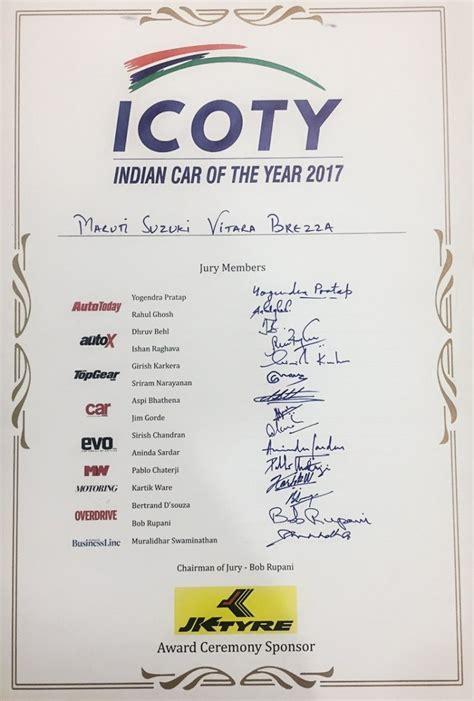 Suzuki Certification by Maruti Vitara Brezza Wins Icoty 2017
