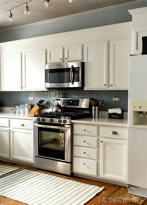 Cabinets Paint Grade by Builder Grade Kitchen Makeover With White Paint