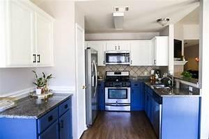 Our, Diy, Blue, U0026, White, Kitchen, Cabinets