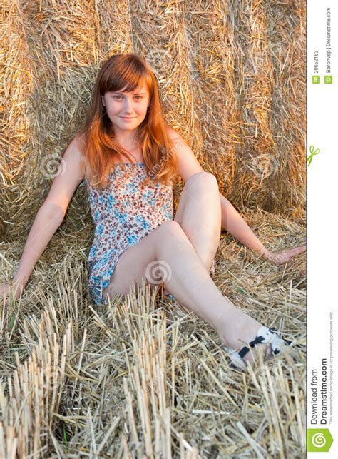 girl near roll of hay stock image image of pigtail 20652163