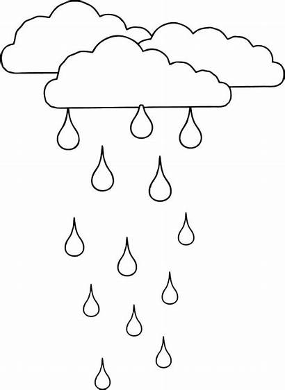 Rain Coloring Pages Printable Cloud Raindrop Clouds