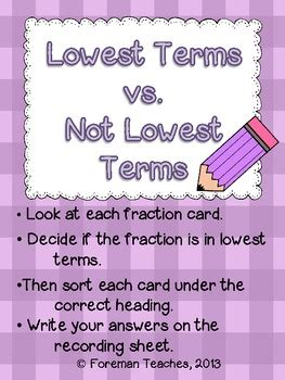 fractions reducing   lowest terms  activities