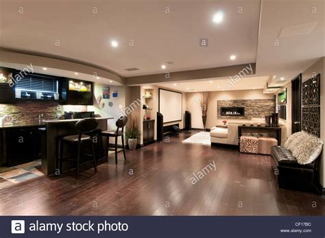 Basement in luxury residential home with bar and home