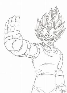 Majin Vegeta lineart by kingvegito on DeviantArt
