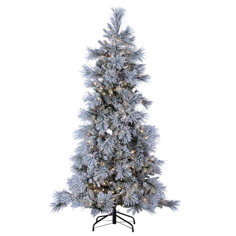 sterling nine foot flocked led trees sterling 7 ft indoor pre lit led lightly flocked snowbell pine 450 ul cool white led twinkling