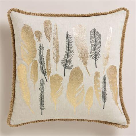 feather throw pillows metallic and embroidered feather throw pillow world market