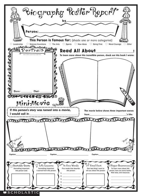 Historical Biography Template by Biography Poster Report Use For Media Students Research