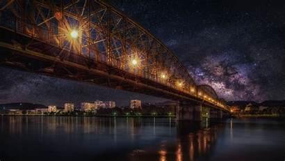 Hdr Sky Bridge Starry Night Railway 4k