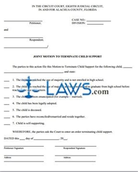 joint motion  terminate child support paperwork
