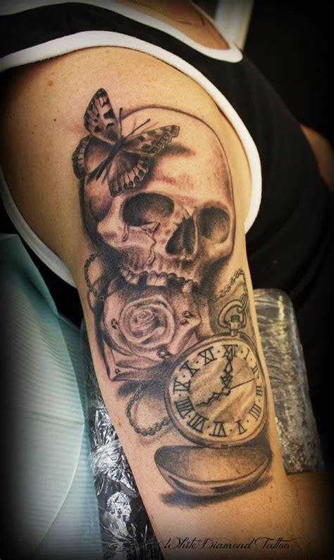 love   tattoo skull clock rose butterfly   helene dahlberg  white