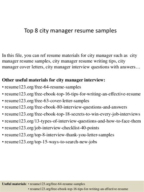 top 8 city manager resume sles
