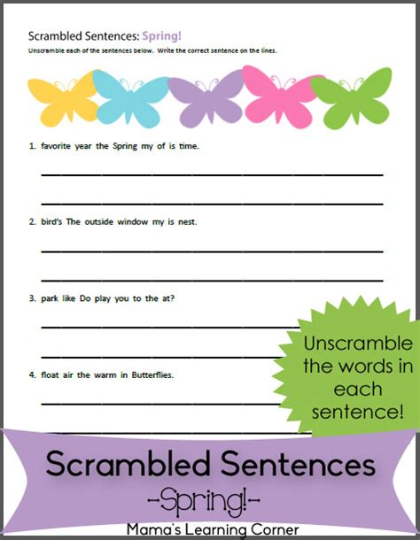 scrambled sentences worksheet mamas learning