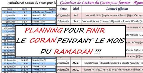 au feminin cuisine document plannings de lecture du coran pour le ramadan