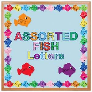 cut out bulletin board decoration assorted fish pattern With letter cutter for bulletin boards