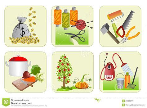 Zes Pictogrammen Voor Huishoudkunde Vector Illustratie ...