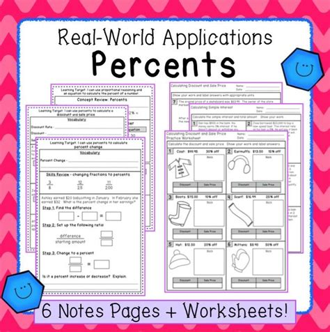 percent applications notes task cards worksheets and