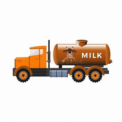 Truck Cartoon Milk Tank Side Tanker Illustration