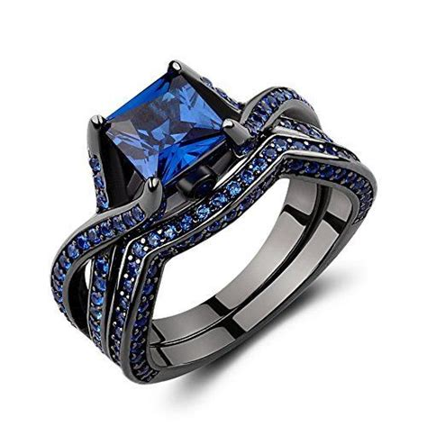 caperci black sterling silver princess cut created blue sapphire solitaire wedding engagement