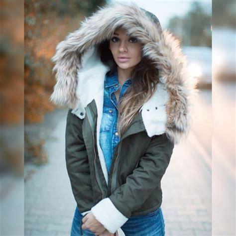 Coat jacket parka green parka fur coat fur big coat hoodie hooded khaki parka fur jacket fall ...