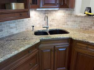 Small granite countertops glass tile backsplash desjar for Small glass backsplash tiles