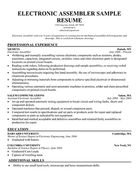 electrical assembler resume resume ideas
